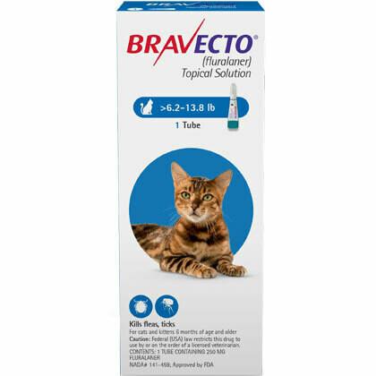 Bravecto 6.3-13.8 lb- Cat ($15 online rebate for 2)