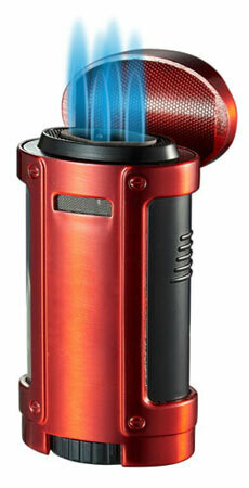 Visol Rhino Quad Flame Lighter With Cigar Rest Red