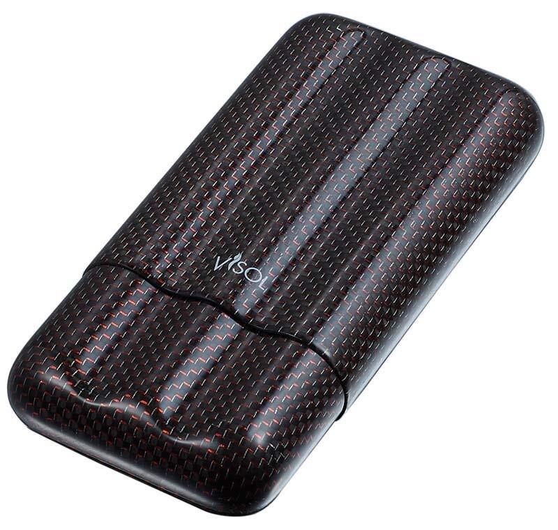 Visol Red Kevlar & Carbon Fiber Cigar Case - 3 Fingers