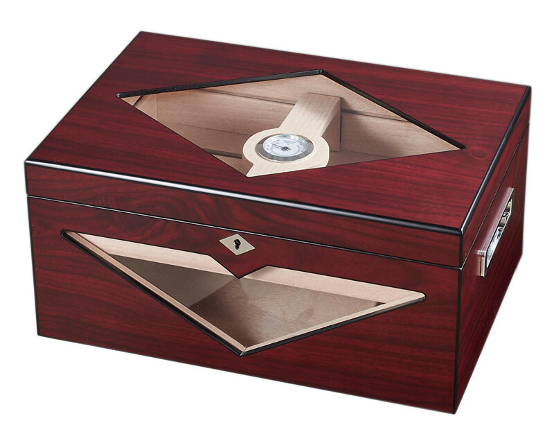 Visol Hudson Red Antique Wood Stain Humidor - Holds 100 Cigars