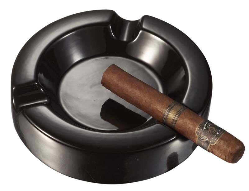 Visol Black Circular Ceramic Cigar Ashtray