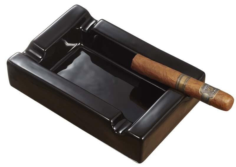 Visol Black Rectangular Cigar Ceramic Ashtray