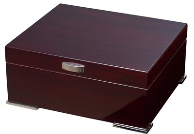 Visol Xander Burgundy Wood Humidor- 30 cigars Gift Set with Case and Cutter