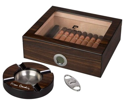 Pierre Cardin Bastrop Glass Top Cigar Humidor Gift Set - Holds 50 Cigars