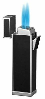Visol Timeless Black and Silver Double Torch Cigar Lighter