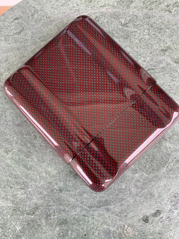 Red Carbon Fiber Kevlar 5 Cigars Case