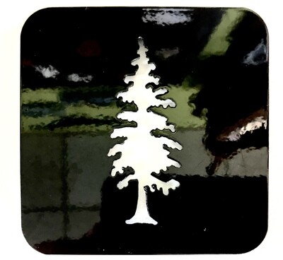 Cedar Tree Laser Cut Metal Coaster
