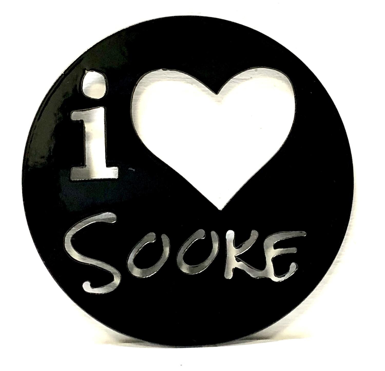 I Love Sooke Laser Cut Metal Coaster