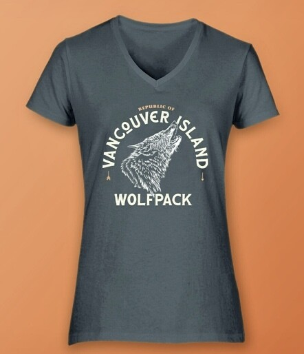 Republic Of Vancouver Island Wolf Logo Women's V-Neck