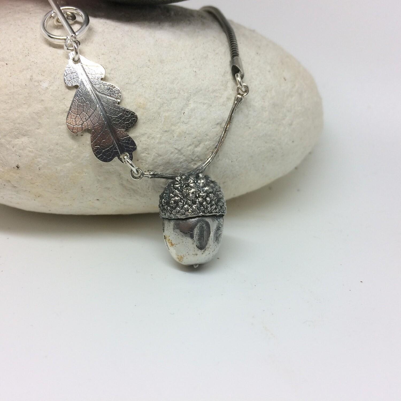 Large acorn and oak leaf necklace