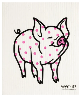 Wet-It Pig Pink Dot Swedish Dishcloth