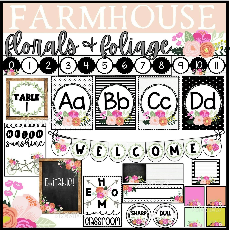 Farmhouse Floral Classroom Decor Bundle