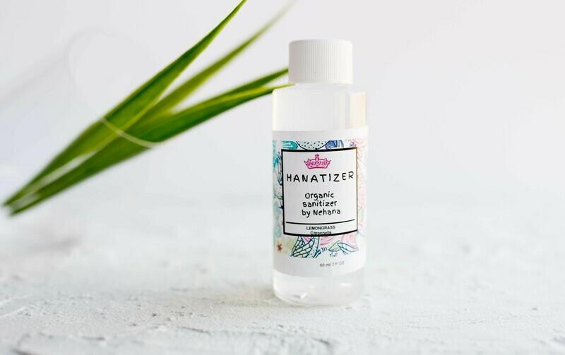 Organic Hand Sanitizer, 99% alcohol, Organic Aloe Vera, Lemongrass- 60ml