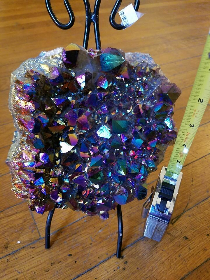 Aura Amethyst Large Cluster with Stand