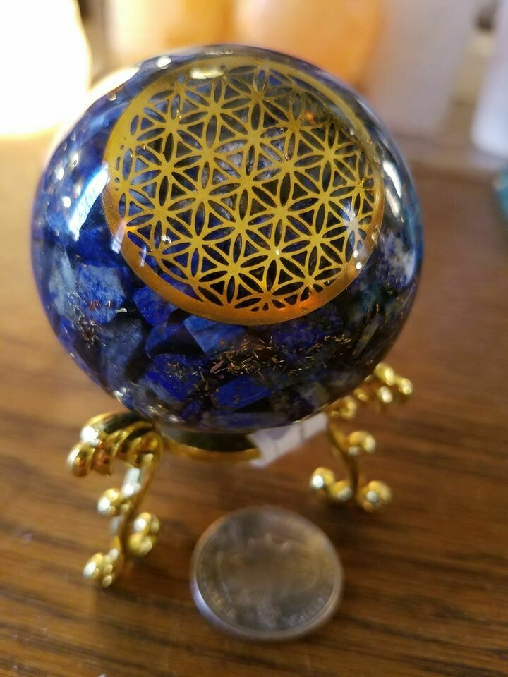 Orgone Sodalite Sphere with stand