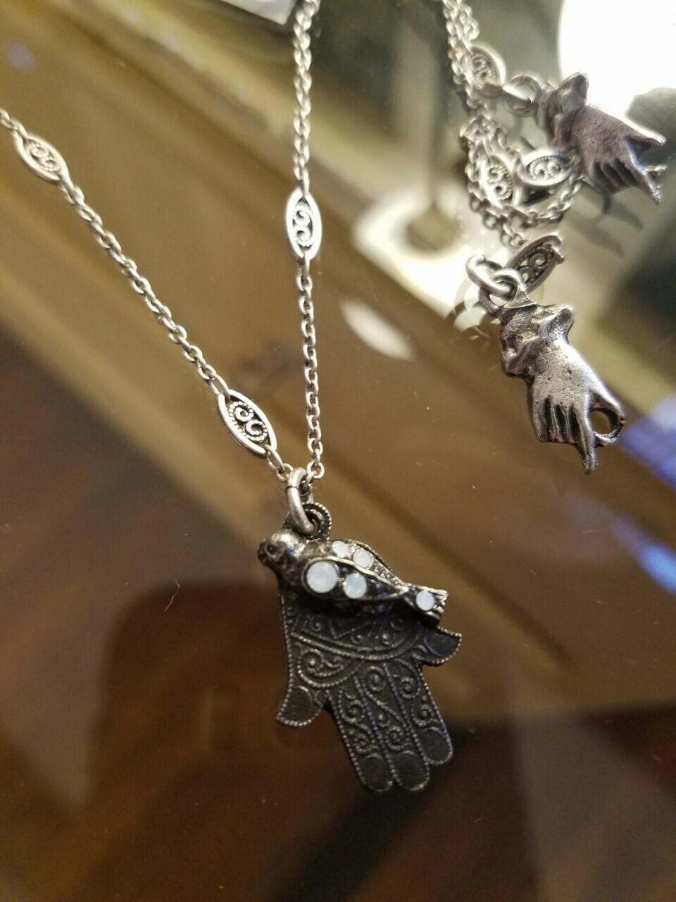 Hamsa & Crystal Necklace