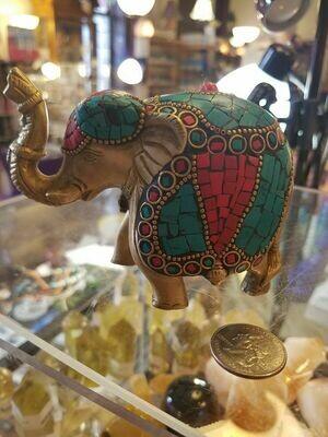 Brass-Inlay Elephant Statue