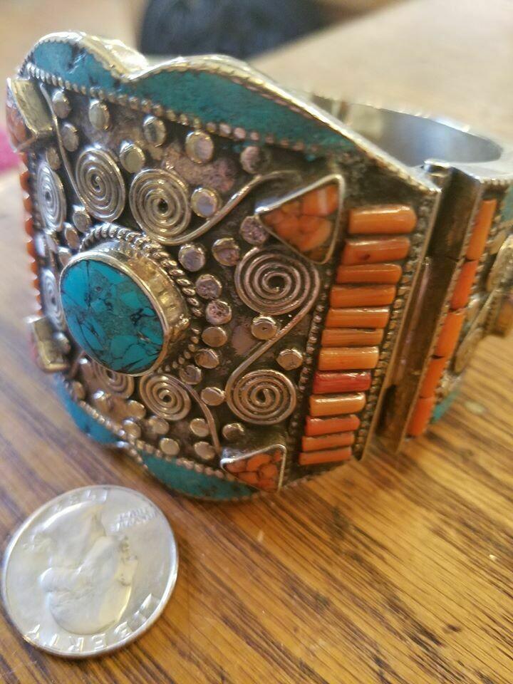 Tibetan Cuff Bracelet- Turquoise & Coral