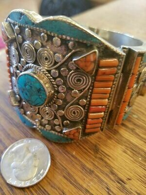 Tibetan Cuff Bracelet- Turquoise & Coral