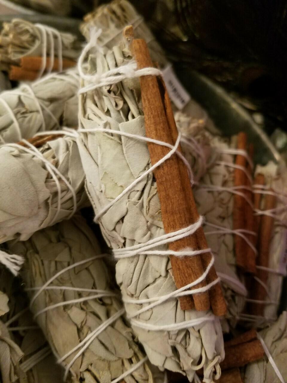 """Cinnamon & White Sage Bundle (1 bundle)  approx 4"""""""