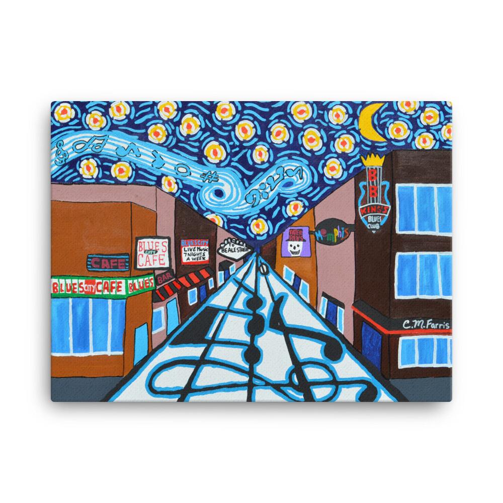 Memphis Nights on Beale Street 18X24 Canvas Print