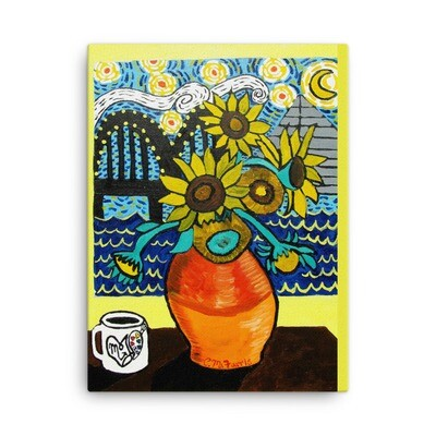 Sunflowers under Memphis Nights 18X24 Canvas Print