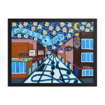 Memphis Nights on Beale Street Framed Print