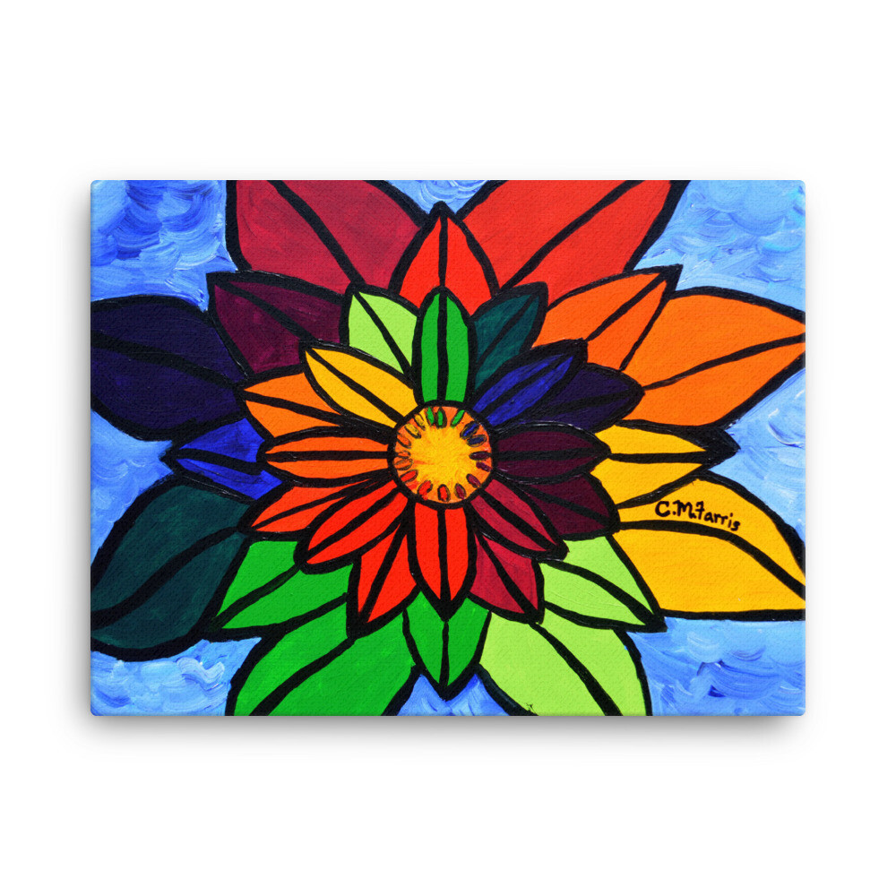 Rainbow Lotus 2 18X24 Canvas Print