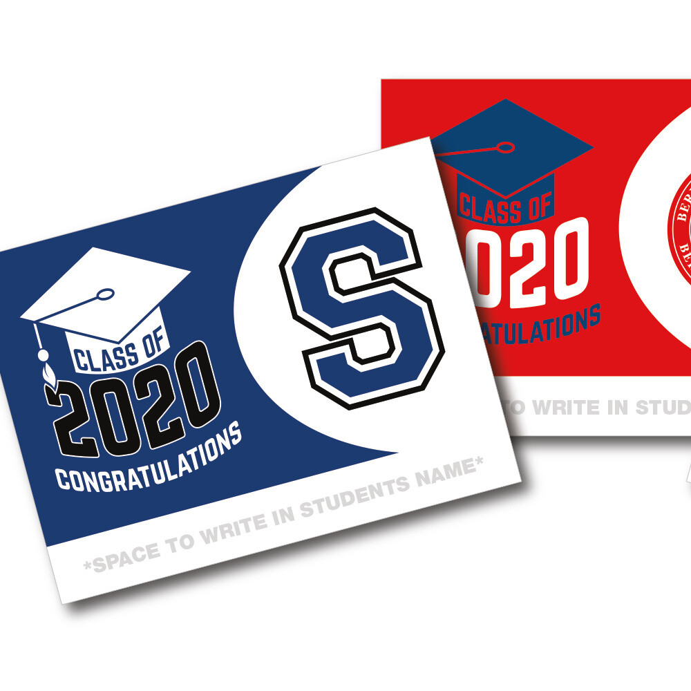 "18""x24"" Double-sided 2020 Graduation Lawn Signs w/Metal H-Stake"