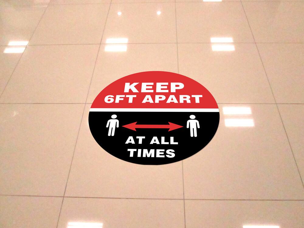 """Keep 6ft Apart"" 12""x12"" Round Vinyl Floor Decal -10 Pack"