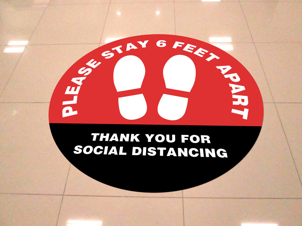 """Please Stay 6 Feet Apart"" 24""x24"" Round Vinyl Floor Decal -10 Pack"