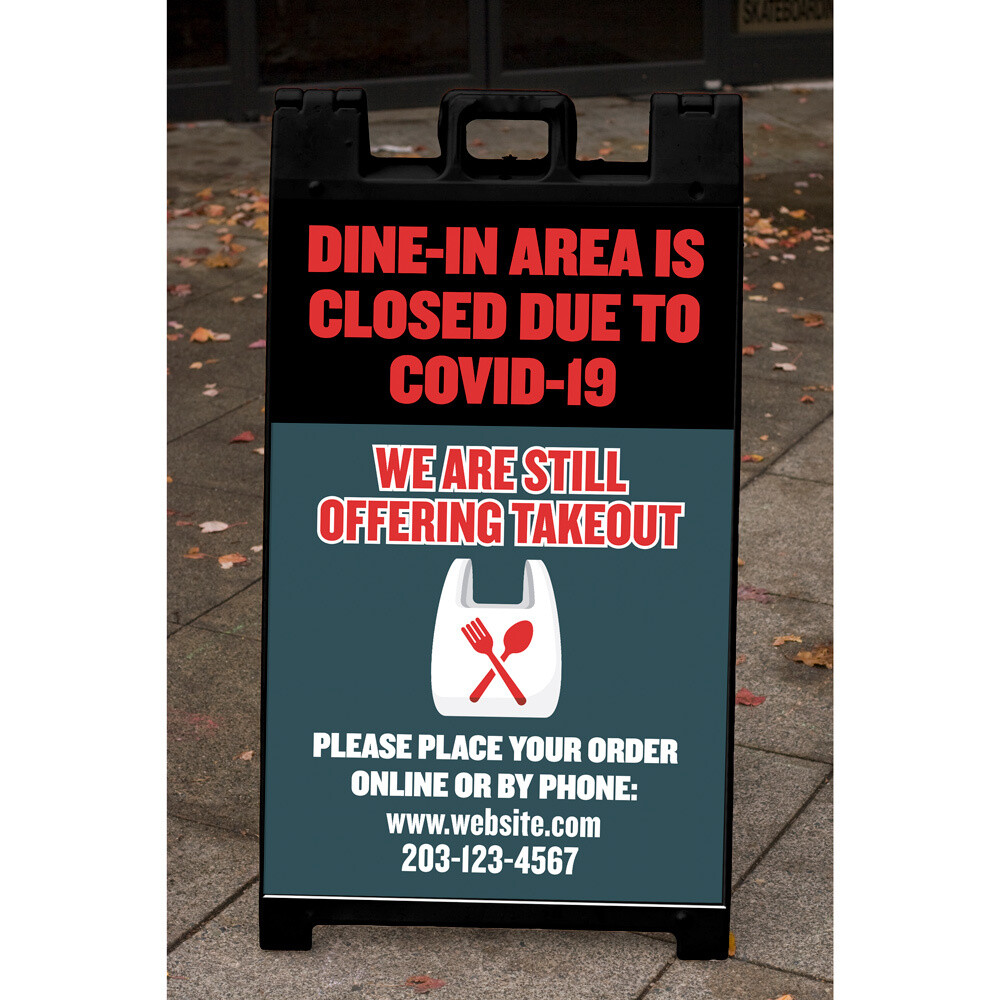 """""""Dine-In Area Closed"""" Corrugated Panel For A-Frame"""