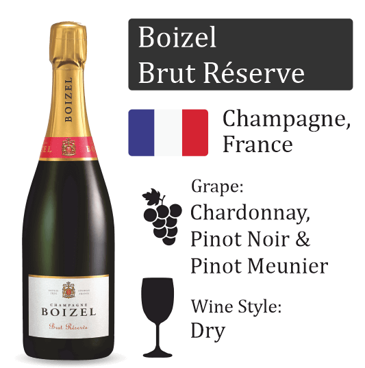 Boizel Brut Reserve with 2 Champagne Flutes - GIFTBOX