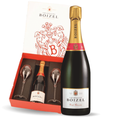 Boizel Brut Reserve with 2 Champagne Flutes - GIFTBOX 00028