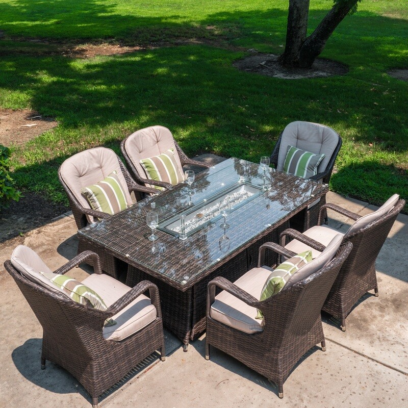 Wicker 6 Seat Rectangular Gas Fire Pit Dining Table With Eton Chair