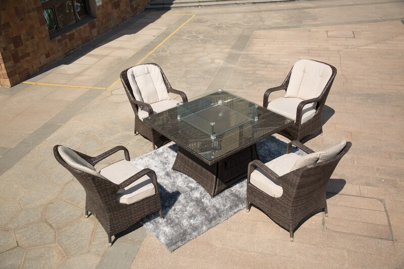 Wicker 4 Seat Square Gas Fire Pit Dining Table With Eton Chair