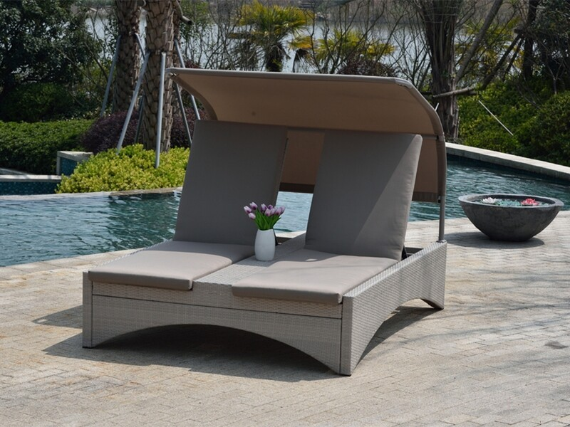 Wicker Adjustable Shade Chaise Lounge Chair, Recliners for Patio