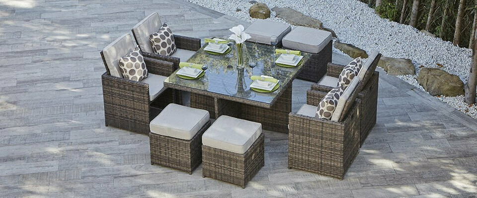 9 Piece Rattan Wicker Designed Dining Set with Back Sectional Conversation Set