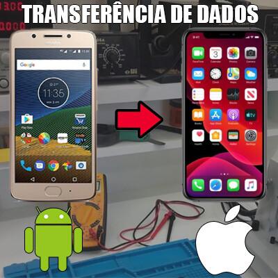 Transferência de dados Android para iPhone.