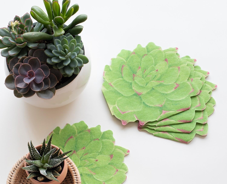 Succulents Die-Cut Paper Linen Napkins