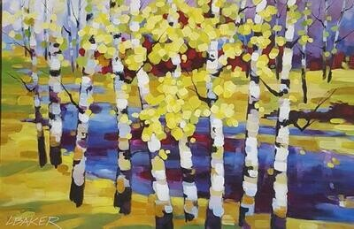 Birches by the Stream 24x36
