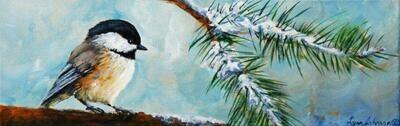 Snow Bird #14, chickadee 4x12