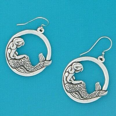 Pewter Mermaid Hoop Earrings
