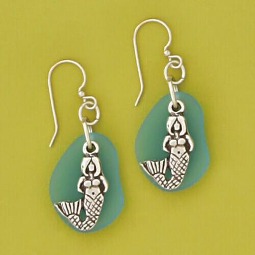 Pewter Sea Glass Earring