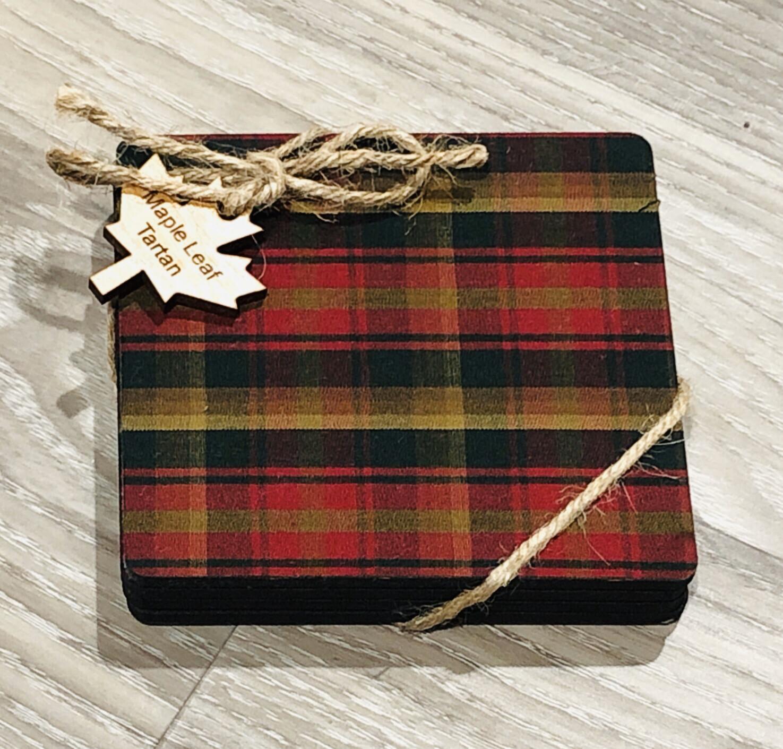 Salt Air Maple Tartan Coaster Set