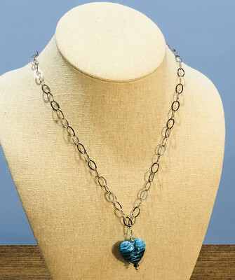 Aqua Glass Heart Necklace
