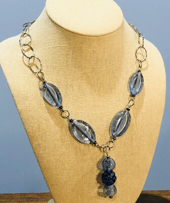 Blue Glass Bead Necklace