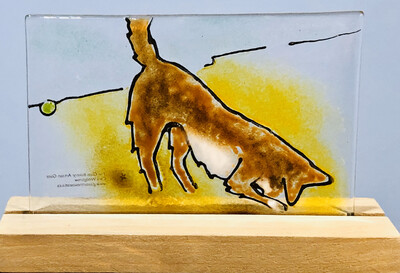 Fused Glass Dog Tile on Stand