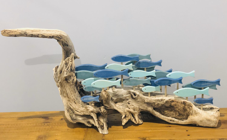 Jerry Walsh Huge Blue School on Driftwood