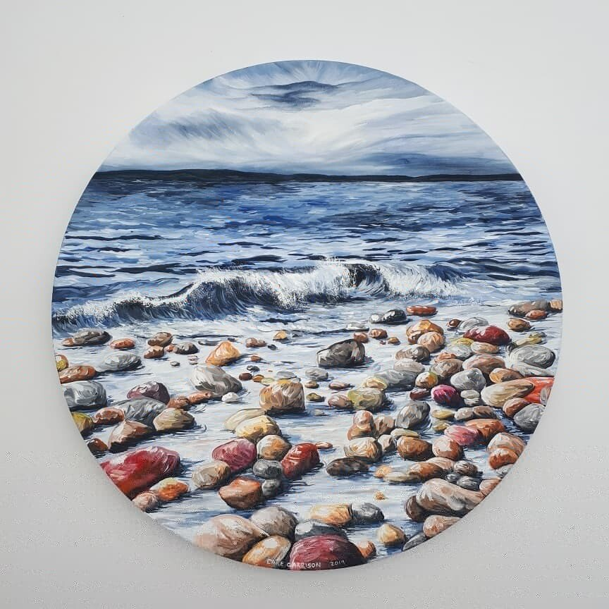 Rocky Shore, Round Canvas
